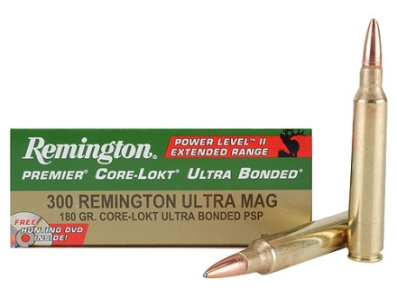 Remington Premier Power Level 2 Ammunition 300 Remington Ultra Magnum 180 Grain Core-Lokt Ultra Bonded Pointed Soft Point Box of 20