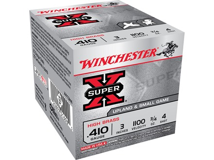 "Winchester Super-X High Brass Ammunition 410 Bore 3"" 3/4 oz #4 Shot Box of 25"