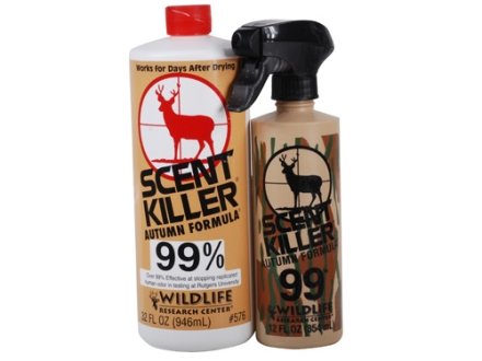 Wildlife Research Center Scent Killer Combo Scent Eliminator Autumn Formula Combo Bottle Liquid 32 oz and Spray Liquid 12 oz