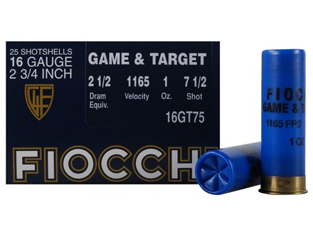 Fiocchi Dove &amp; Target Ammunition 16 Gauge 2-3/4&quot; 1 oz #7-1/2 Shot