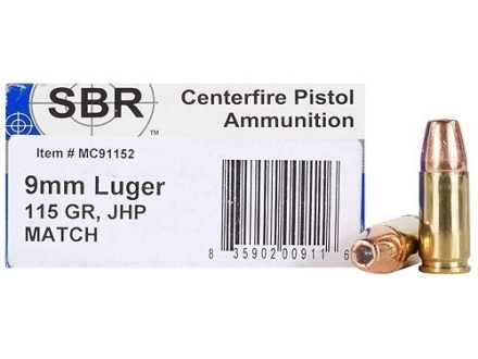SBR Match Ammunition 9mm Luger 115 Grain Jacketed Hollow Point Box of 50