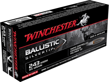 Winchester Supreme Ammunition 243 Winchester Super Short Magnum (WSSM) 95 Grain Ballistic Silvertip Box of 20