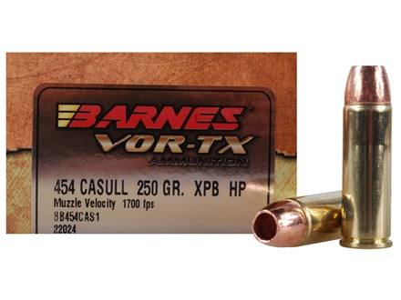 Barnes VOR-TX Ammunition 454 Casull 250 Grain XPB Hollow Point Lead-Free Box of 20
