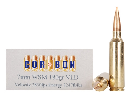 Cor-Bon Performance Match Ammunition 7mm Winchester Short Magnum (WSM) 180 Grain VLD Box of 20