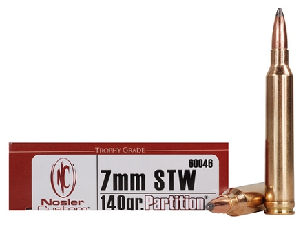 Nosler Trophy Grade Ammunition 7mm STW 140 Grain Partition Box of 20