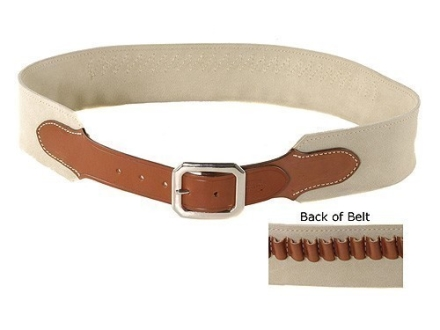 "Hunter Cartridge Belt ""Duke Two"" Style 45 Caliber Suede Leather Chestnut XL"
