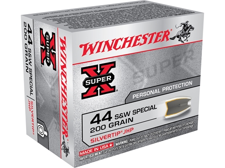 Winchester Super-X Ammunition 44 Special 200 Grain Silvertip Hollow Point Box of 20