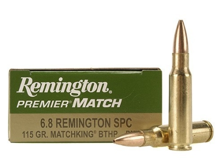 Remington Premier Match Ammunition 6.8mm Remington SPC 115 Grain Sierra MatchKing Hollow Point Box of 20