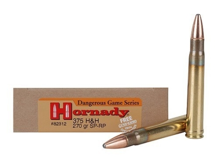 Hornady Dangerous Game Ammunition 375 H&H Magnum 270 Grain Spire Point Recoil Proof Box of 20