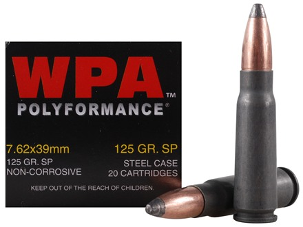 Wolf Ammunition 7.62x39mm 125 Grain Jacketed Soft Point (Bi-Metal) Steel Case Berdan Primed Box of 20