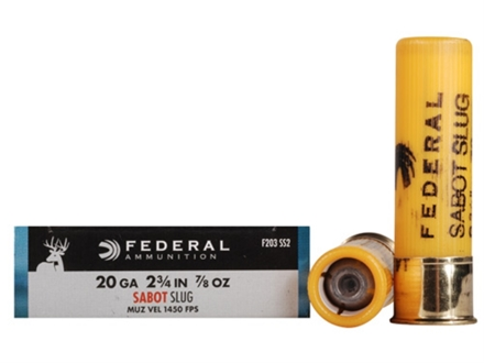 Federal Power-Shok Ammunition 20 Gauge 2-3/4&quot; 7/8 oz Sabot Slug Box of 5