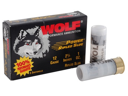 "Wolf Power Ammunition 12 Gauge 2-3/4"" 1 oz Rifled Slug Box of 5"