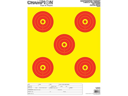 "Champion ShotKeeper 5 Large Bullseye Target 14"" x 18"" Paper Yellow/ Red Bull Package of 12"