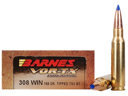 Barnes VOR-TX Ammunition 308 Winchester 168 Grain Tipped Triple-Shock X Bullet Boat Tail Lead-Free Box of 20
