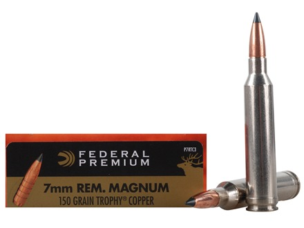 Federal Premium Vital-Shok Ammunition 7mm Remington Magnum 150 Grain Trophy Copper Tipped Boat Tail Lead-Free Box of 20