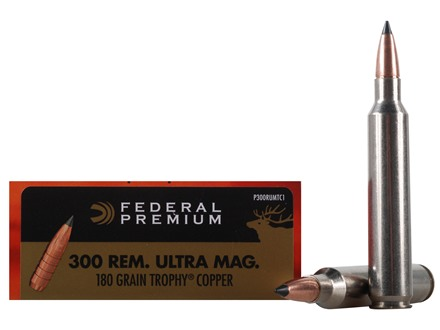 Federal Premium Vital-Shok Ammunition 300 Remington Ultra Magnum 180 Grain Trophy Copper Tipped Boat Tail Lead-Free Box of 20
