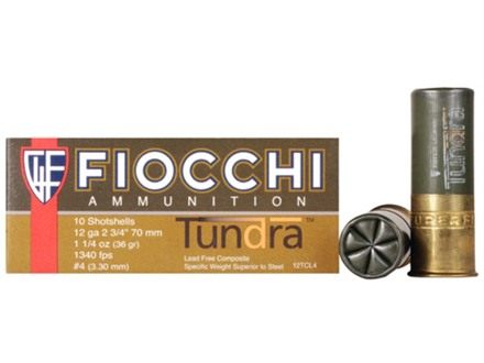 "Fiocchi Tundra Waterfowl Ammunition 12 Gauge 2-3/4"" 1-1/4 oz #4 Non-Toxic Shot"