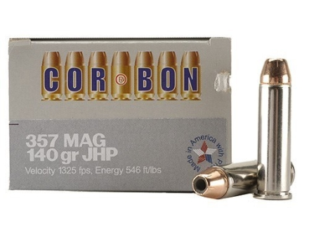 Cor-Bon Self-Defense Ammunition 357 Magnum 140 Grain Jacketed Hollow Point Box of 20