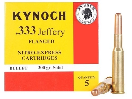 Kynoch Ammunition 333 Jeffery Flanged 300 Grain Woodleigh Weldcore Solid Box of 5