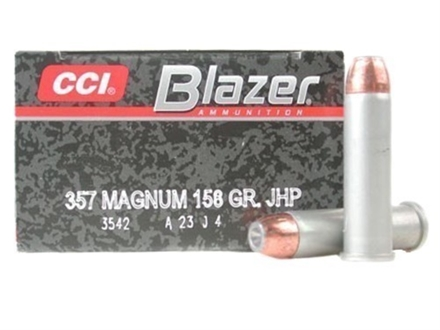 CCI Blazer Ammunition 357 Magnum 158 Grain Jacketed Hollow Point Box of 50