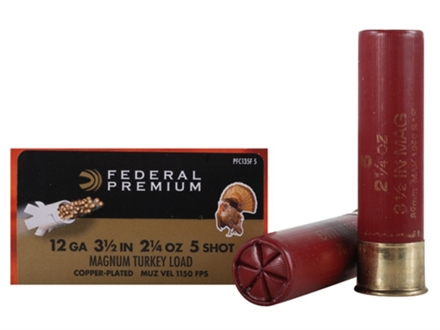 Federal Premium Mag-Shok Turkey Ammunition 12 Gauge 3-1/2&quot; 2-1/4 oz #5 Copper Plated Shot High Velocity Box of 10