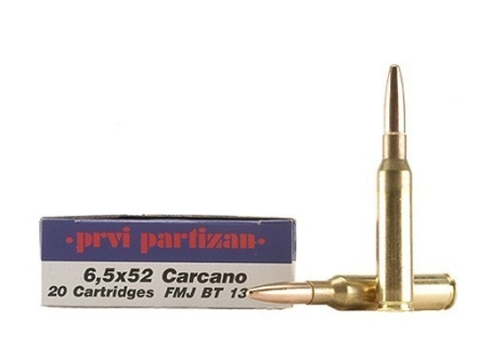 Prvi Partizan Ammunition 6.5x52mm Mannlicher-Carcano 139 Grain Full Metal Jacket Boat Tail Box of 20