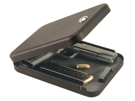 "Secure-It Large Pistol Security Box 9-1/2"" x 6-1/2"" x 1-3/4"" Steel Black"
