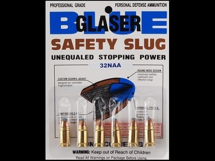 Glaser Blue Safety Slug Ammunition 32 North American Arms (NAA) 55 Grain Safety Slug Package of 6