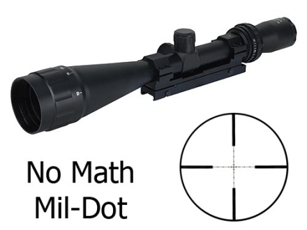 Leatherwood Hi-Lux Camputer ART M-1200 Tactical Rifle Scope 6-24x 50mm No Math Mil-Dot Reticle with Weaver-Style Base and Rings Matte
