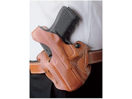 DeSantis Thumb Break Scabbard Belt Holster Left Hand Glock 26, 27, 33 Suede Lined Leather Tan