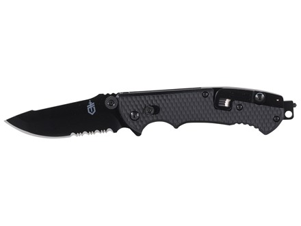 "Gerber Hinderer CLS Folding Knife 3.5"" Partially Serrated Drop Point 440A Black Stainless Steel Blade Black Nylon Handle"