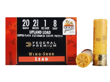 "Federal Premium Wing-Shok Quail Forever Ammunition 20 Gauge 2-3/4"" 1 oz #8 High Velocity Copper Plated Shot Box of 25"