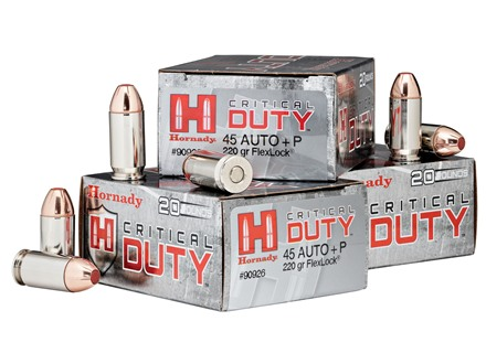 Hornady Critical Duty Ammunition 45 ACP +P 220 Grain FlexLock Box of 20