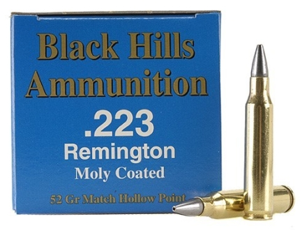 Black Hills Remanufactured Ammunition 223 Remington 52 Grain Match Hollow Point Moly Box of 50