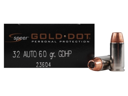 Speer Gold Dot Ammunition 32 ACP 60 Grain Jacketed Hollow Point Box of 20