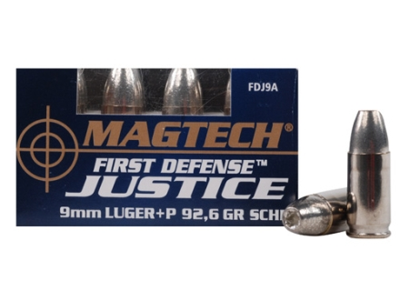 Magtech First Defense Justice Ammunition 9mm Luger +P 92.6 Grain Solid Copper Hollow Point Lead-Free Box of 20