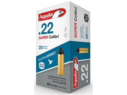 Aguila Super Colibri Ammunition 22 Long Rifle 20 Grain Lead Solid Point Box of 500 (10 Boxes of 50)