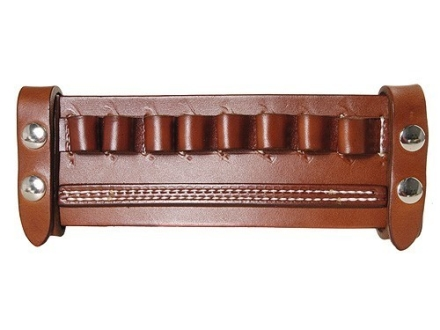 Van Horn Leather Belt Slide Shotshell Ammunition Carrier 8-Round 12 Gauge Leather Chestnut