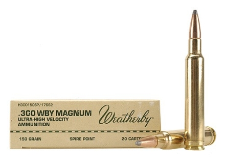 Weatherby Ammunition 300 Weatherby Magnum 150 Grain Hornady Spire Point Box of 20