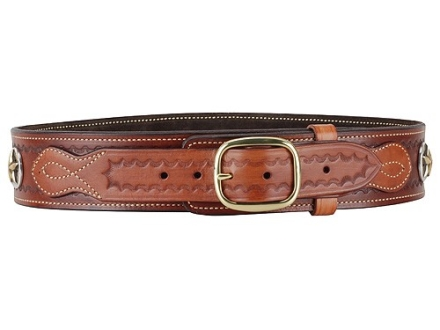 Ross Leather Classic Cartridge Belt 45 Caliber Leather with Tooling and Conchos Tan 46""