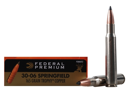 Federal Premium Vital-Shok Ammunition 30-06 Springfield 165 Grain Trophy Copper Tipped Boat Tail Lead-Free Box of 20