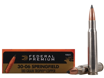 Federal Premium Vital-Shok Ammunition 30-06 Springfield 180 Grain Trophy Copper Tipped Boat Tail Lead-Free Box of 20