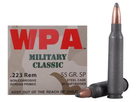 Wolf Military Classic Ammunition 223 Remington 55 Grain Jacketed Soft Point (Bi-Metal) Steel Case Berdan Primed Box of 20