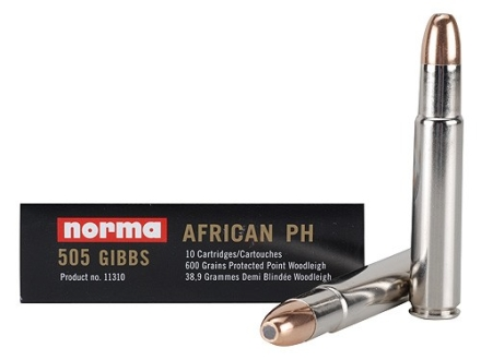Norma African PH Ammunition 505 Gibbs Magnum 600 Grain Woodleigh Protected Point Box of 10