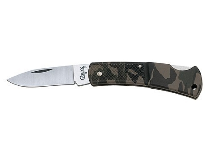 "Case Small Camo Caliber Lockback Folding Pocket Knife 2-1/4"" Drop Point Stainless Steel Blade Synthetic Handle Camo"