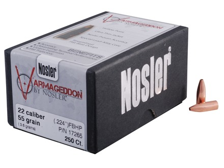 Nosler Varmageddon Bullets 22 Caliber (224 Diameter) 55 Grain Hollow Point Flat Base