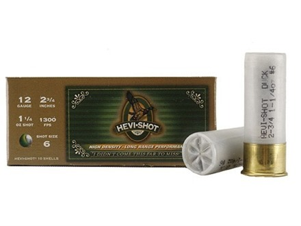 "Hevi-Shot Duck Waterfowl Ammunition 12 Gauge 2-3/4"" 1-1/4 oz #6 Non-Toxic Shot Box of 10"