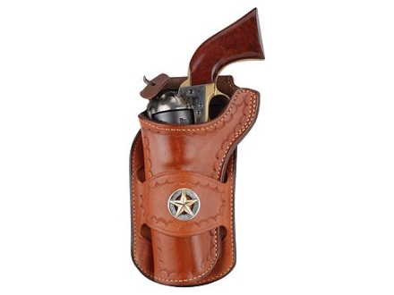 "Ross Leather Classic Belt Holster with Tooling and Conchos Left Hand Single Action 5.5"" Barrel Leather Tan"