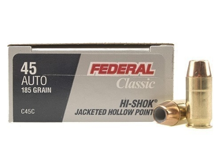 Federal Premium Personal Defense Ammunition 45 ACP 185 Grain Jacketed Hollow Point Box of 20