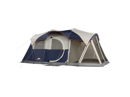 "Coleman Elite Weathermaster 6 Man Modified Dome Tent System 204"" x 108"" x 80"" Polyester Blue, White and Gray"